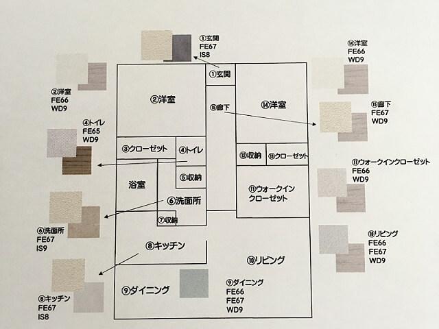 壁紙と床材の指定用間取り図
