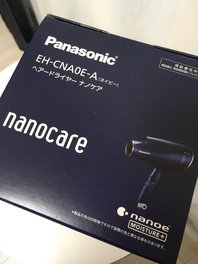 パナソニックドライヤーナノケアEH-NA0Eの外箱上の面