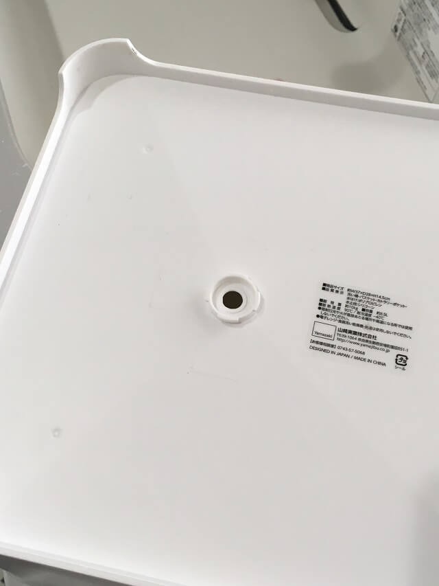 水切りバスケット底水止栓設置個所