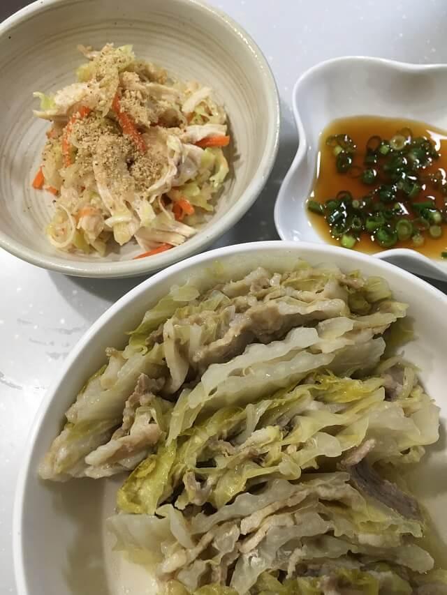 豚バラ肉のミルフィーユと鶏むね肉とキャベツのサラダ